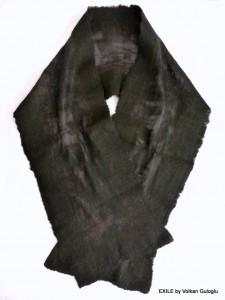 écharpes en feutre, fait main, Volkan Guloglu, Exile, keçe, şal, eşarp atkı